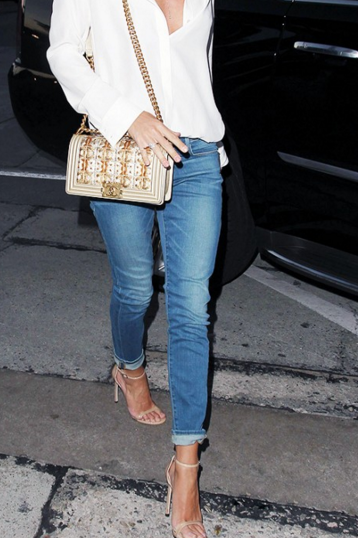 Tucked in top with denim and high heel sandal such a chic look
