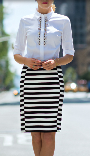 White tucked in top paired with a pencil skirt this is a perfect sophisticated office outfit